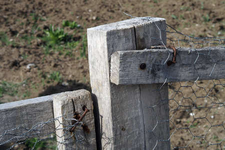 garden fence made of wood and wire, Stock fotó