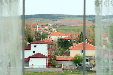 the outer view from the window and curtain openings, the view out the window, Stock fotó