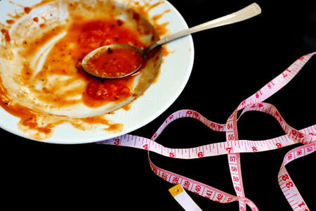 eating a lot and gaining weight, finished dinner plate and tape measure,