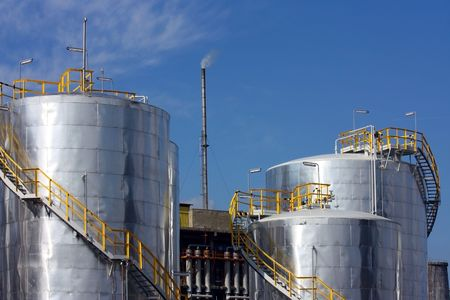 petrol deposits in refinery Stock Photo