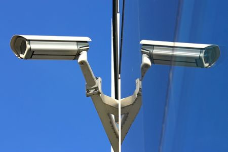 security camera and glass facade