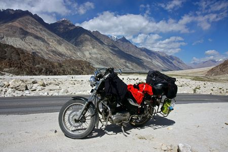 motorbike  stop in mountains photo
