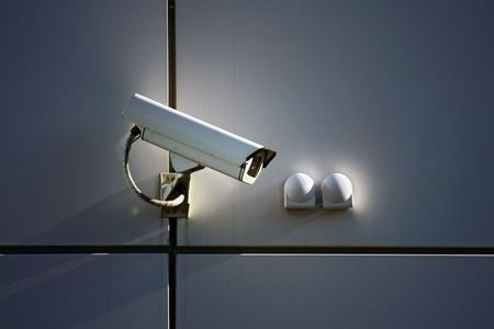private security: cctv camera on wall