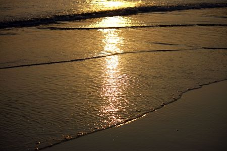 reflection in the sea water during sunset photo