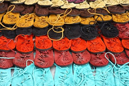 upscale: many colors of fashion shoes in lines Stock Photo