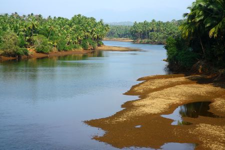 tropical landscape in south India with river Stock Photo - 6729735