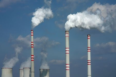 deleterious: polluted smoke from coal power plant in europe