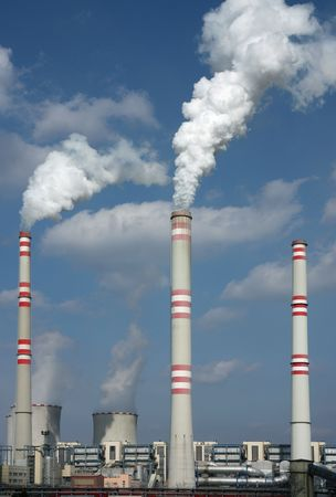 detail of coal power plant with chimney and cooling towers Stock Photo - 6843480