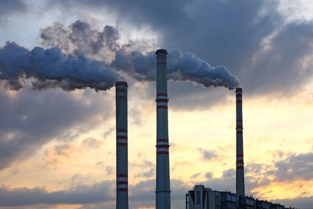 polluted smoke from factory during sunset Stock Photo - 6843522