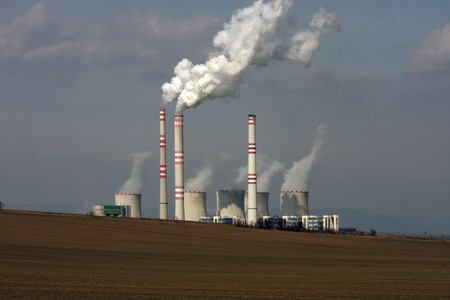 view of coal power plant over the field Stock Photo - 7236739