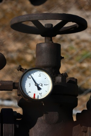 detail of steel old valve with manometer Stock Photo - 7972558
