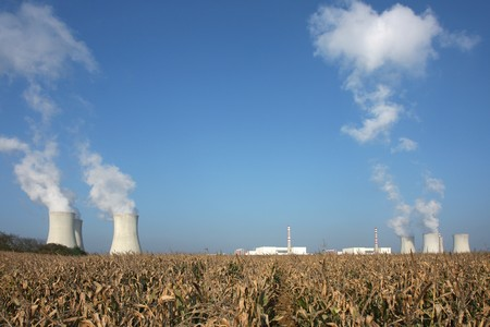 view of nuclear power plant over the horizon photo