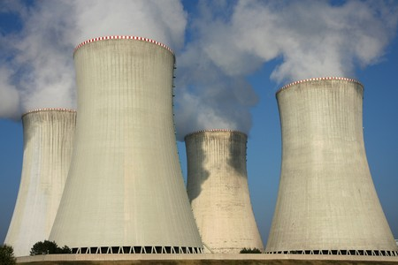 detail of cooling towers of nuclear power plant Stock Photo