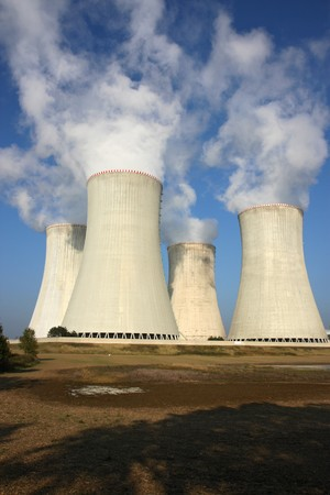 detail of four cooling towers of nuclear power plant