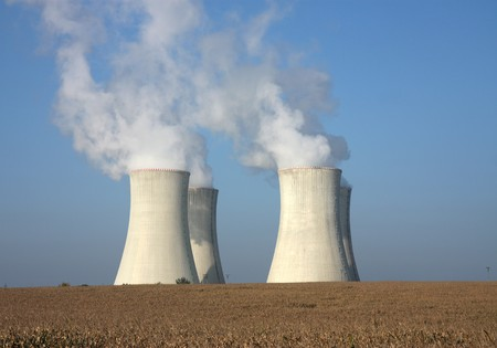 fourcooling tower of nuclear power plant and agriculture field Stock Photo - 8152114