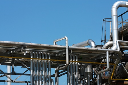 many steel pipes in oil refinery