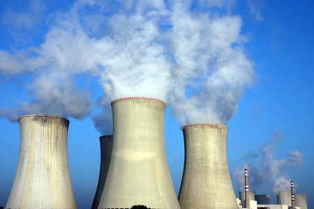 smoke from huge cooling towers of power plant in Europe Stock Photo - 8429859