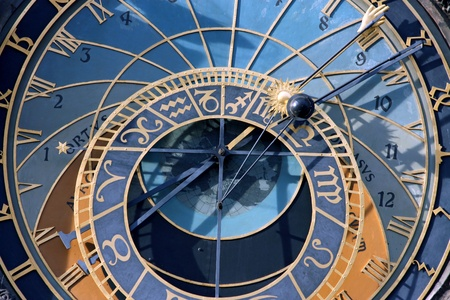 horoscope: old big steel Prague astronomical clock