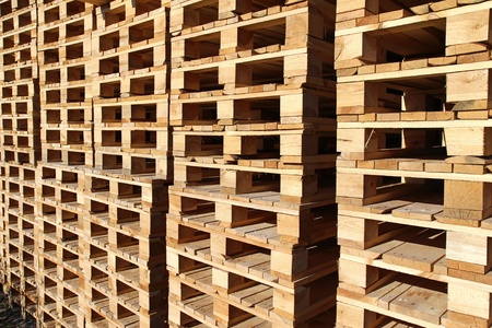 detail of stock wood pallet under sun light