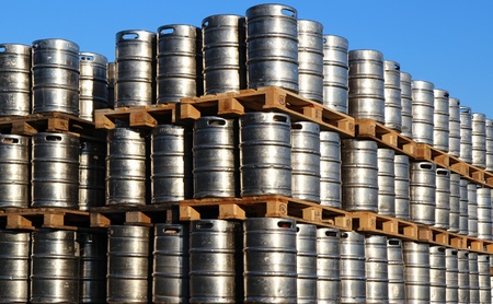 stock of steel kegs of beer in factory yard Stock Photo