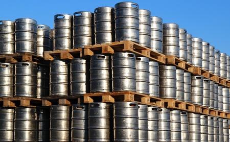 stock of steel kegs of beer in factory yard photo