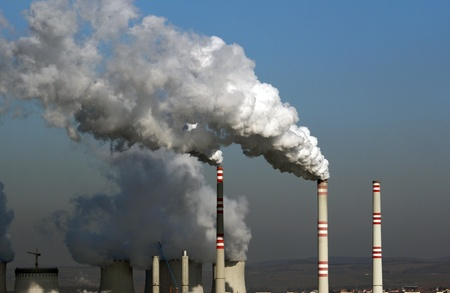 huge cloud of polluted smoke from coal power plant