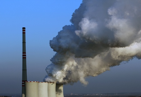 nuclear reactor: smoking atomic power plant in europe Stock Photo