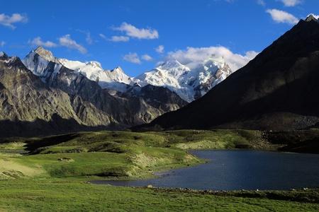 himalayas: Darung Drung glacier and lake high in himalayas Stock Photo