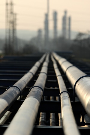 pipe with crude oil going to refinery Stock Photo