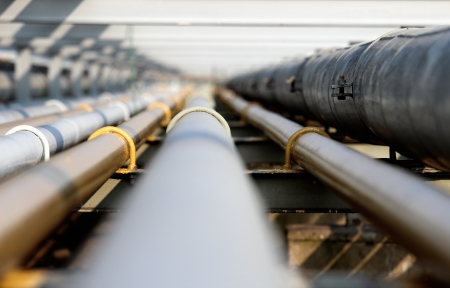 gas supply: oil steel pipe in group  Stock Photo