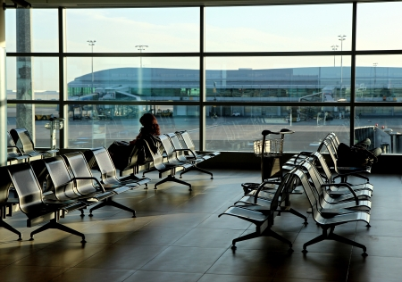 empty seats in new airport hall building Editorial
