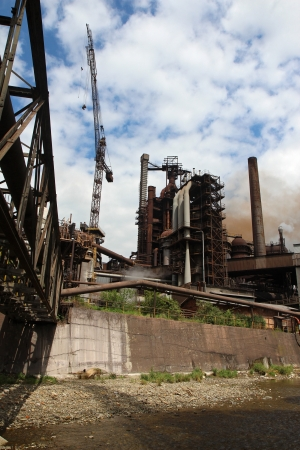working steel blast furnace in europe factory photo