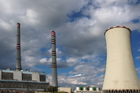 coal plant: dark clouds and coal power plant