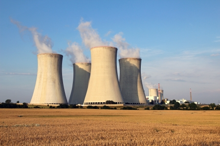 electric generating plant: cooling tower of nuclear power plant and agriculture field