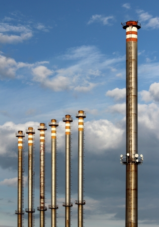 group of steel factory chimney photo