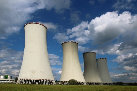 four cooling towers of coal power plant