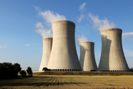 nuclear plant: view of nuclear power plant towers