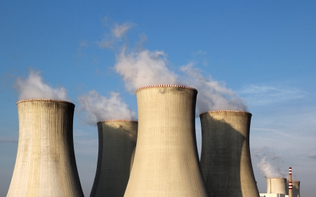 view of nuclear power plant towers and sky Stock Photo - 14533050