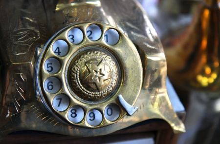 antique phone: detai of old iron antique telephone