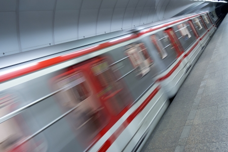 blur subway: detail of metro train in station Stock Photo