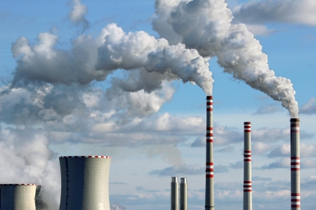 coal plant: polluted smoke from coal power plant