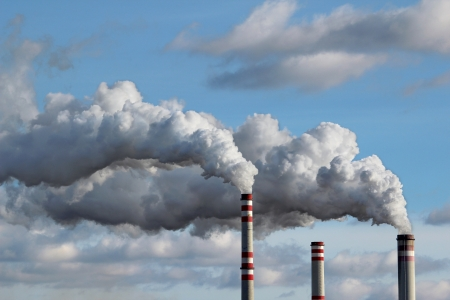 emissions: detail of white smoke polluted sky Stock Photo