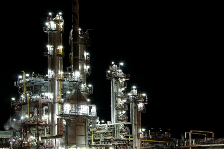 night view of petrol production factory