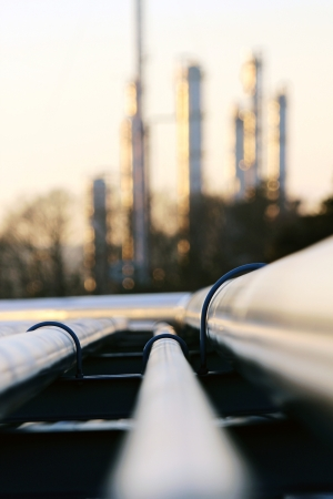 fossil fuels: pipe going to the refinery station
