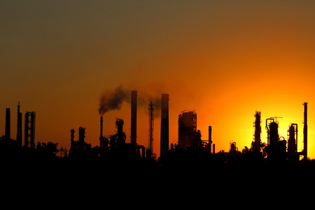 crude oil: View of crude oil refinery during sunset