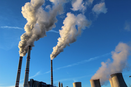 emissions: white toxic fume from coal power plant