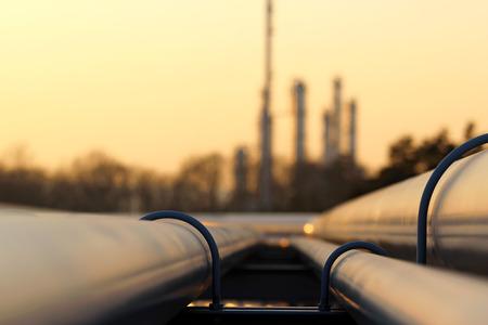 Przewóz rurociąg w rafinerii ropy Zdjęcie Seryjne