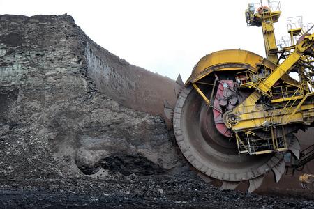 diggers: detail of huge coal excavator mining wheel