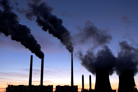 black toxic smoke from coal power plant  photo