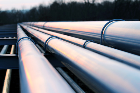 pipelines: pipes in crude oil factory Stock Photo